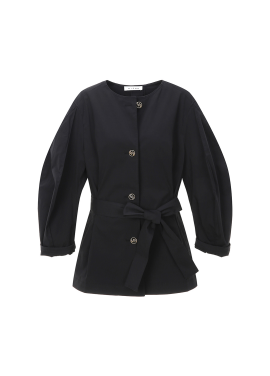 Round Neck Volume Sleeve Outer