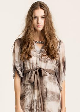 [10%할인/CAHIERS]Printed silk-crepon dress