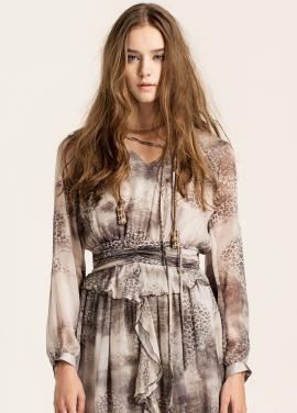 [10%할인/CAHIERS]Printed silk-crepon maxi dress
