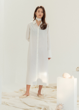 [5%할인/NOTA] FINE LONG SHIRT DRESS_IVORY