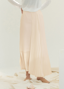 [5%할인/NOTA] PLEATS WING LONG SKIRT_PINKBEIGE