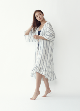 [20%할인/5PENING]Frill Robe - White (Stripe)