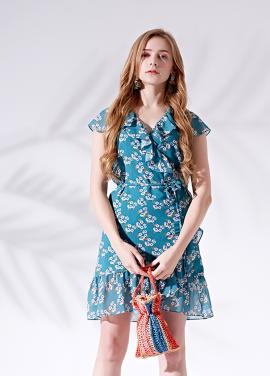 [5%할인/MORANYIF]Floral wrap dress