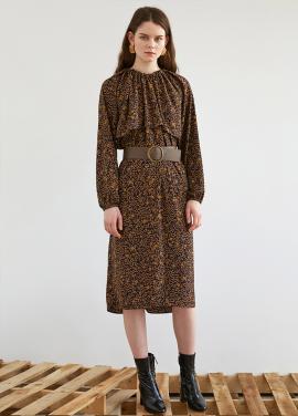 [5%할인/KINDERSALMON]FW18 GATHER PRINT DRESS NAVY