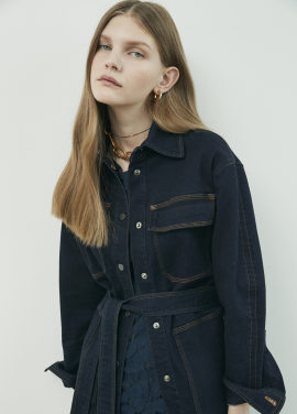 Big Poket Belted Denim Outer
