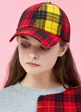 [5%할인/EYEYE]MULTI CHECK COMBINATION RIBBON CAP_RED (EEOG3AHY02W)