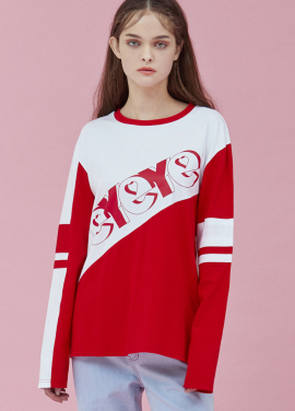 [5%할인/EYEYE]HEART EYEYE COMBINATION T-SHIRT_RED (EEOG3RLR01W)
