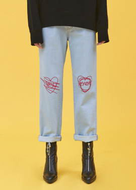 [5%할인/EYEYE]EYEYE HEAT EMBROIDERY DENIM PANTS_L/BLUE (EEOG3DPR01W)