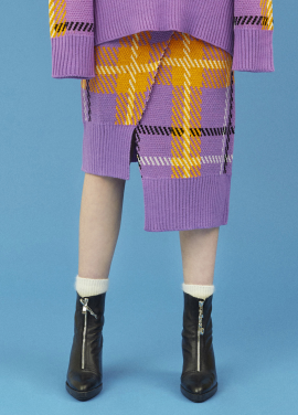 [5%할인/EYEYE]CHECK PATTERN KNIT SKIRT_PURPLE (EEOG3SKR04W)