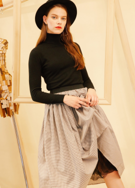 [단독10%할인/AHINEDITION] CHECK LONG SKIRT