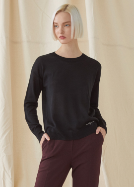 [MILLOGREM/10%할인] Simple Round Neck Knit - black
