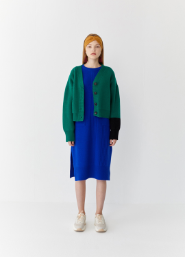 [5%할인/TEETH OFFICE] TEETHOFFICE Lamswool Green Cropped Cardigan