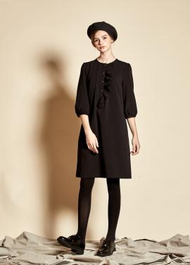 [9월 27일 예약배송/5%할인/The Kstory] Slim Ruffle Dress_ Black