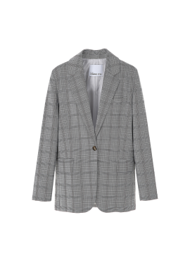 One Button Check Pattern Tailored Jacket