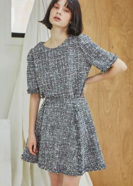 [단독 5%할인/Sorry, Too Much Love] Tweed Flare Skirt_Gray
