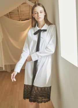 [5%할인/JUST IN STYLE] Tail edge lace shirts one-piece_WHITE