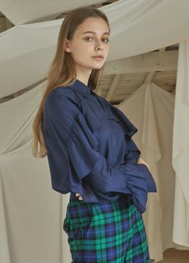 [5%할인/JUST IN STYLE] Frill lady shirts_NAVY