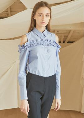 [5%할인/JUST IN STYLE] Frill open-shoulder shirts_BLUE