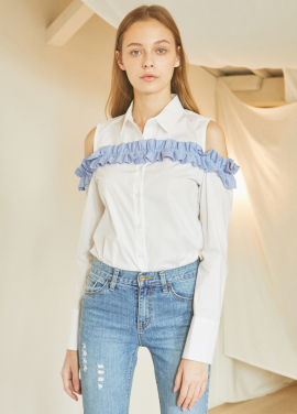 [5%할인/JUST IN STYLE] Frill open-shoulder shirts_WHITE