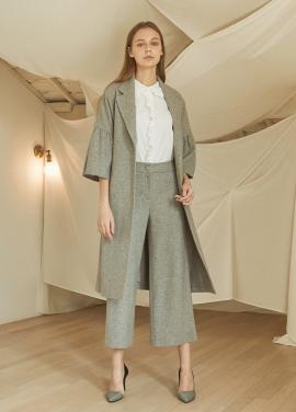 [5%할인/JUST IN STYLE] Three-quarter sleeve wool coat_GRAY