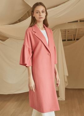 [5%할인/JUST IN STYLE] Three-quarter sleeve wool coat_PINK