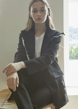 [5%할인/JUST IN STYLE] Frill point unique jacket_BLACK