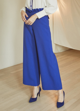 [5%할인/JUST IN STYLE] Flower waist pants_BLUE