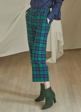 [5%할인/JUST IN STYLE] Tartan check pants_GREEN