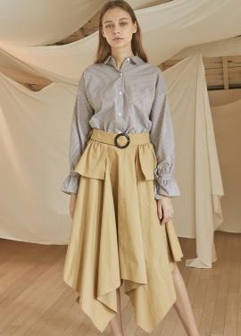 [5%할인/JUST IN STYLE] Buckle flare skirt_BEIGE