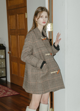 [5%할인/MOONEED] CHECK DUFFLE COAT