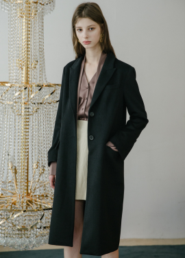 [5%할인/MOONEED] BASIC WOOL SINGLE LONG COAT - BLACK