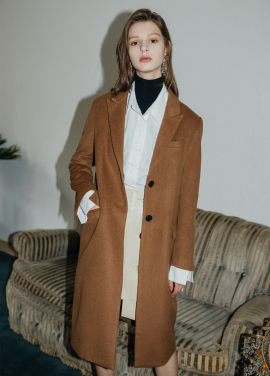 [5%할인/MOONEED] BASIC WOOL SINGLE COAT - BROWN