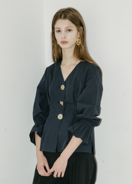 [5%할인/MOONEED] BUTTON POINTED VOLUME BLOUSE-NAVY