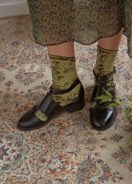[IHATEMONDAY/10%]  Velvet Socks Olive