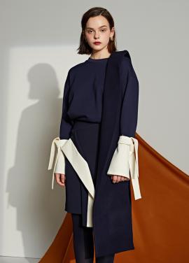 [5%할인/Le yiel] Color Sleeve Sweater_Navy