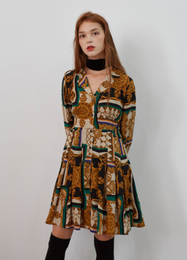 [5%/VEMVER] PLEATS POINT PRINTED ONEPIECE