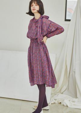 [5%할인/Sorry, Too Much Love] Flower Ribbon Tie Chiffon Dress_Purple