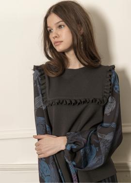 [5%할인/CAHIERS] Peacock printed puff sleeves sweater