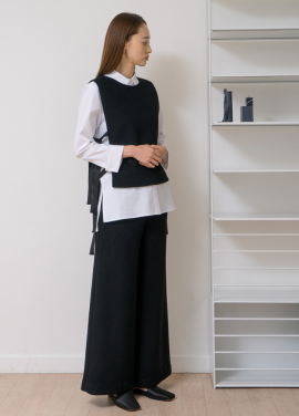 WARM WIDE PANTS (BLACK)