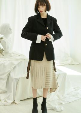 [5%할인/CLUE DE CLARE] tuck detail corduroy jacket Black