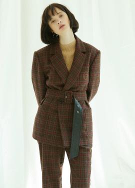 [5%할인/CLUE DE CLARE] oversized belted jacket Brown