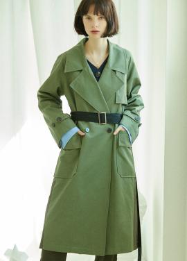 [5%할인/CLUE DE CLARE] color block trench coat Khaki