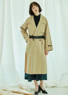 [5%할인/CLUE DE CLARE] color block trench coat Beige
