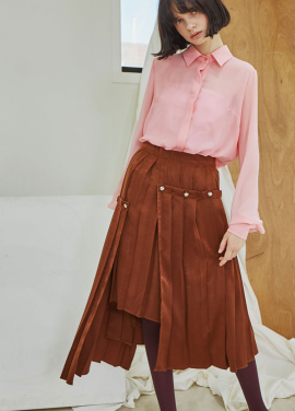 [Sorry, Too Much Love] Layered Button Pleats Skirt_Brown