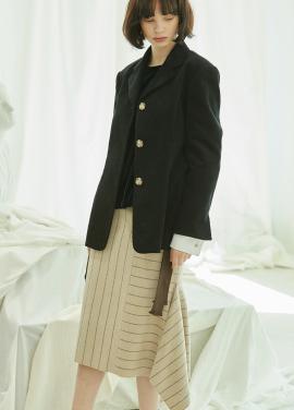 [5%할인/CLUE DE CLARE] side slit stripe skirt Beige
