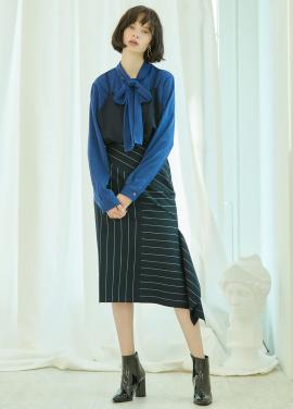 [5%할인/CLUE DE CLARE] side slit stripe skirt Navy