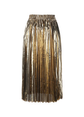 Metallic Pleats Long Skirt