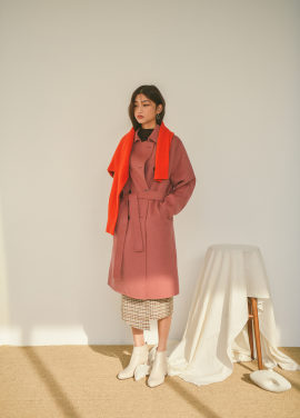 Cashmere Blended Trench Style Handmade Coat