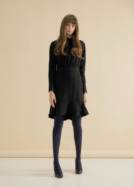 ◆Neck Slit Flounce Dress