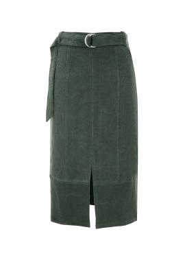 Corduroy Midi Belted Skirt